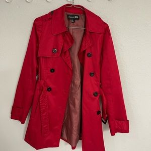 Forever 21 Red Trench Coat Size Medium